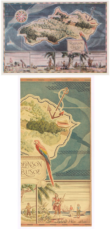 "Robinson Crusoe Pictoral Mural Map, one panel 40"" x 60"", designed by Glenn M. Shaw. Above catalog illustration, below section of actual paper (photo: Cooper Hewitt)."