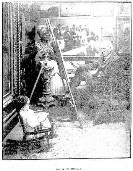 Archibald MacNeal Willard in his studio (Source: Cleveland Plain Dealer, December 17, 1899, Several of Cleveland's Well Known Artists Seen At Work In Their Studios).