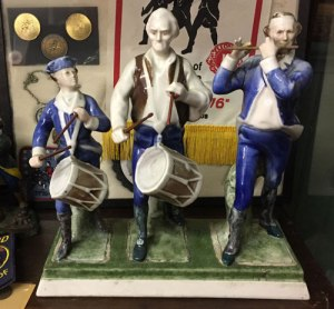 Spirit of '76 statue manufactured by the Bailey-Walker China company, owned and on display at the Bedford Historical Society, which I visited in April, 2018.
