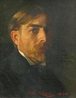 Self-portrait by artist Hugo Max Schmitz, oil, 1898.